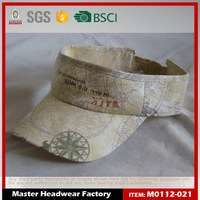 Natural straw+nylon mesh Sun visor cap with Flat Embroidery and Print Logo