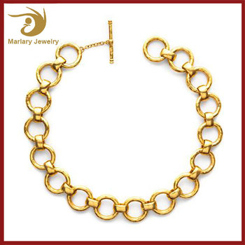 2018 Stainless Steel Chocker Statement Necklace Jewelries For Women, Dubai Gold Plated Fashionable Jewelry Wholesale