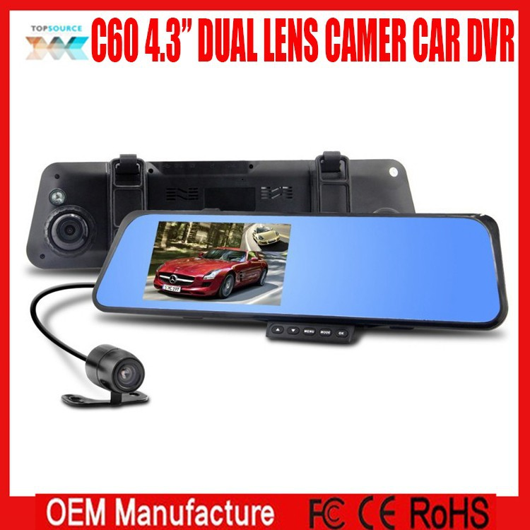 "HD car driving video recorder 4.3""TFT car rear view mirror camera dual lens auto dvr 4.3""TFT/H.264/Wide Angle of 170 degrees"