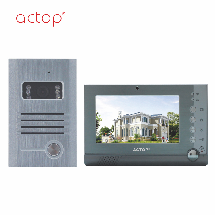 ACTOP 4 wire video door phone for villa support 2 doorbells 4 monitor