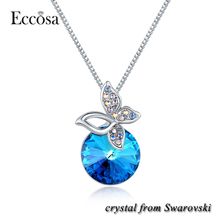 Eccosa 18k Gold Necklace Crystal From Swarovski Butterfly Type Pendant Necklace Jewelry Wholesale