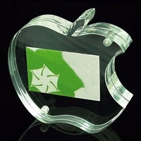 Unique design clear acrylic photo frame, apple shaped lucite picture display stand, perspex sign holder