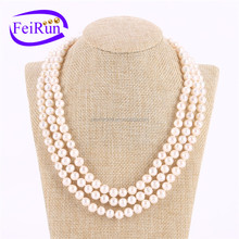 3rows natural freshwater pearl necklace designs