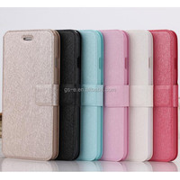 Stand Cover Silk Pattern Fabri Credit Card Holder Wallet Leather Flip Case For Iphone 6