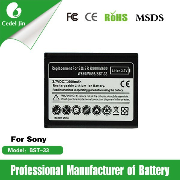 phone battery BST-33 for Sony K818/M600/M608/P1/P990/S302/Satio/Sprio/T700/T715/TXT pro/V640i/V800/V802/V802SE