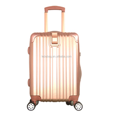 Guangzhou OEM Factory High Quality Striped PC Trolley Luggage with Plastic Frame 20/24 Inches Available