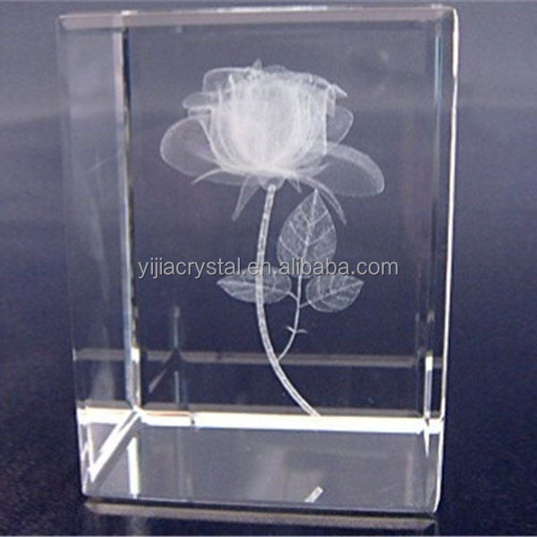 Factory directly sale new products K9 glass cube/block gift 3d laser engraved crystal rose