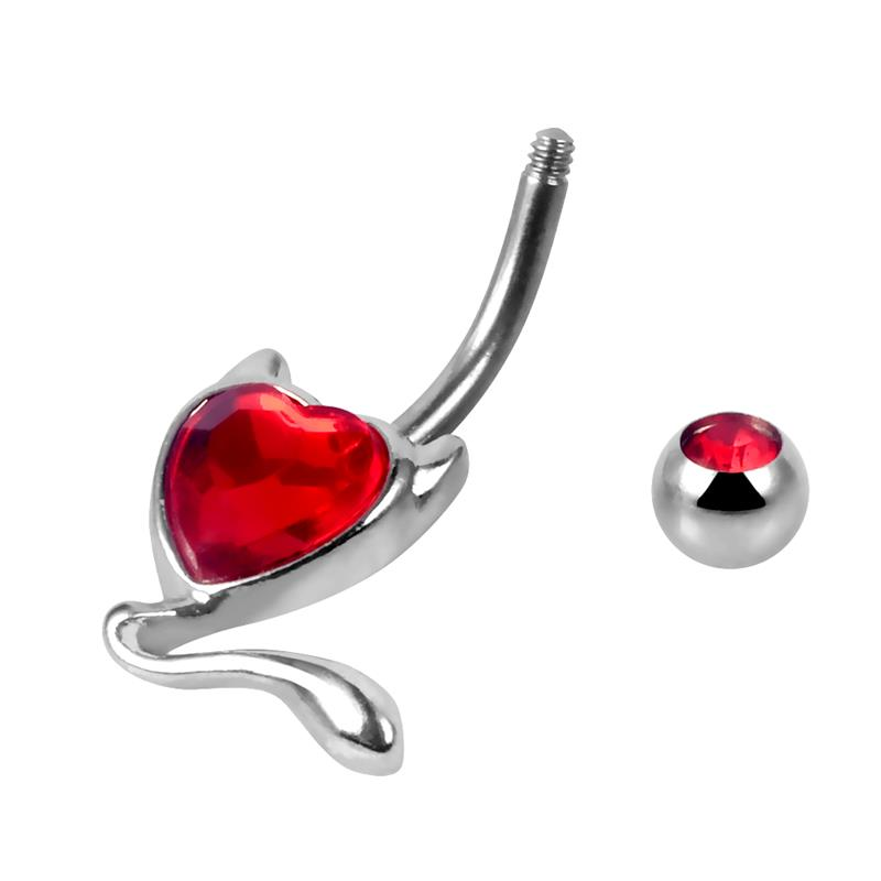Fashion stainless steel piercing jewelry red heart crystal devil navel belly ring wholesale