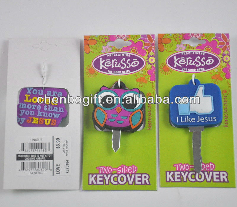 Custom made Two-sided key cover , Soft pvc key cap, rubber key covers