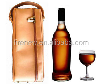 Wine Carrier for one Bottle, Leather Wine Bag FN0301