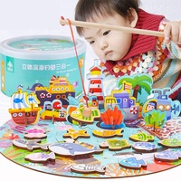 diy wooden educational 3D puzzle Fishing toys Children Multifunctional Farm Seas Scenes Toys Magnetic Fishing Games