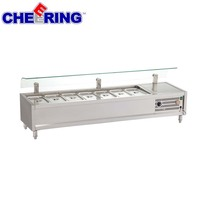 Table top refrigerated salad bar with sneeze guard