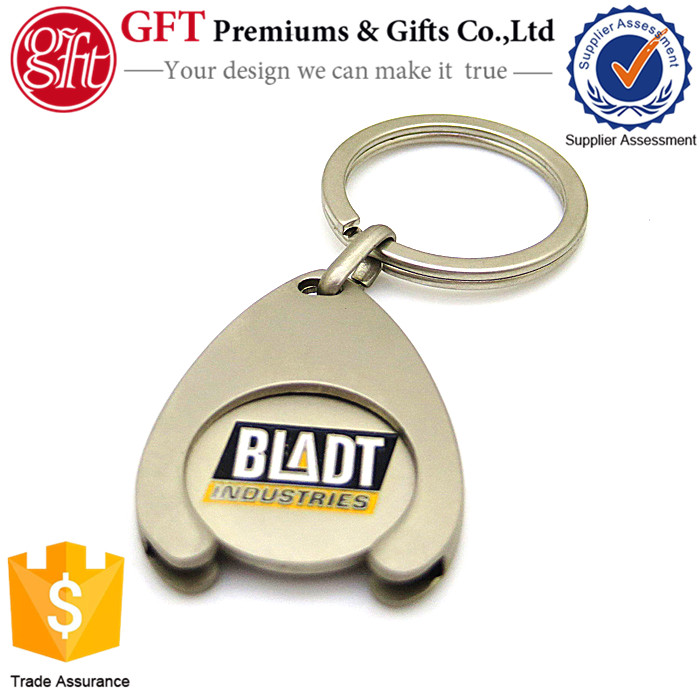 Promotion metal keyring coins cheaper trolley coin holder keychains