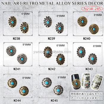 Japanese type Nail Art retro metal alloy gold