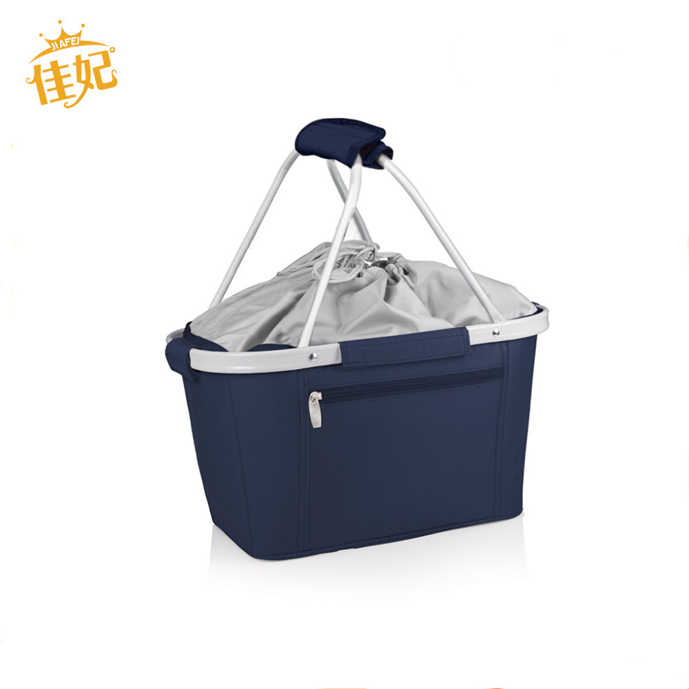 High quality folding shopping basket with cooler Aluminum frame folding collapsible picnic basket for factory