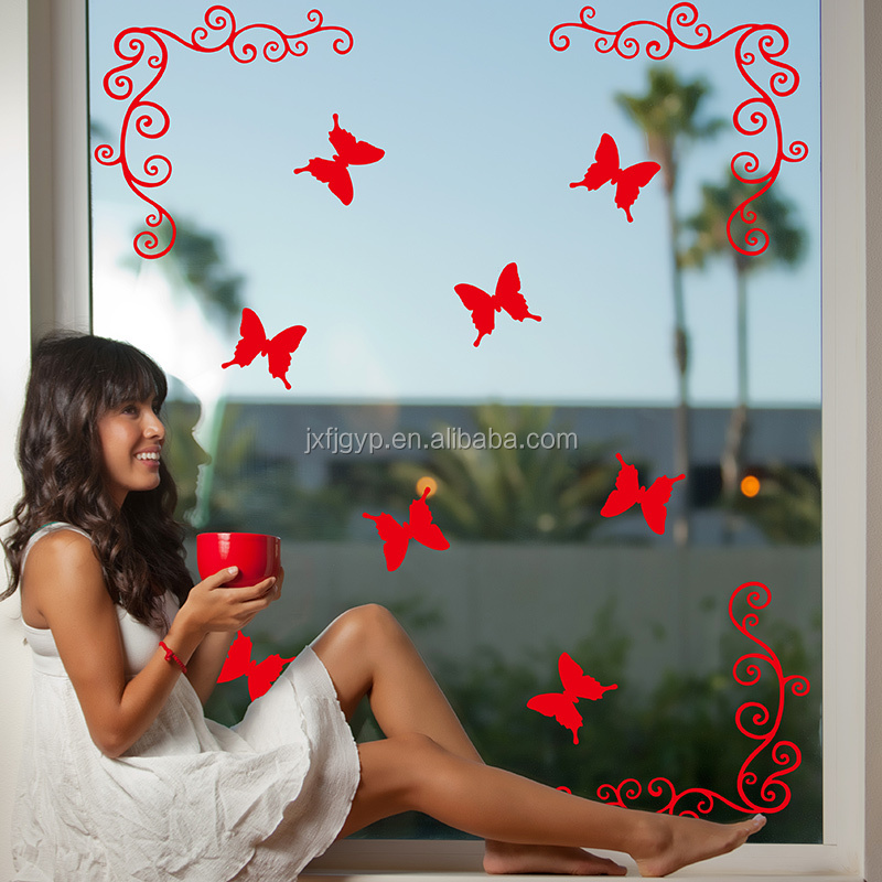 Custom removable creative beautiful butterfly vinyl simple design of window sticker for decals