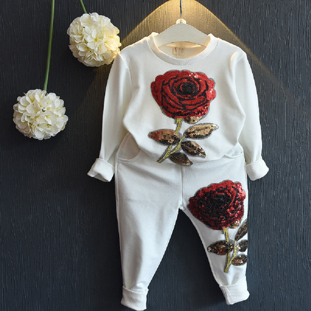 Girls Clothing Sets 2016 Kids Clothing Sets Winter Wool Sportswear Long Sleeve Rose Floral Embroidered Sequinsets Kids