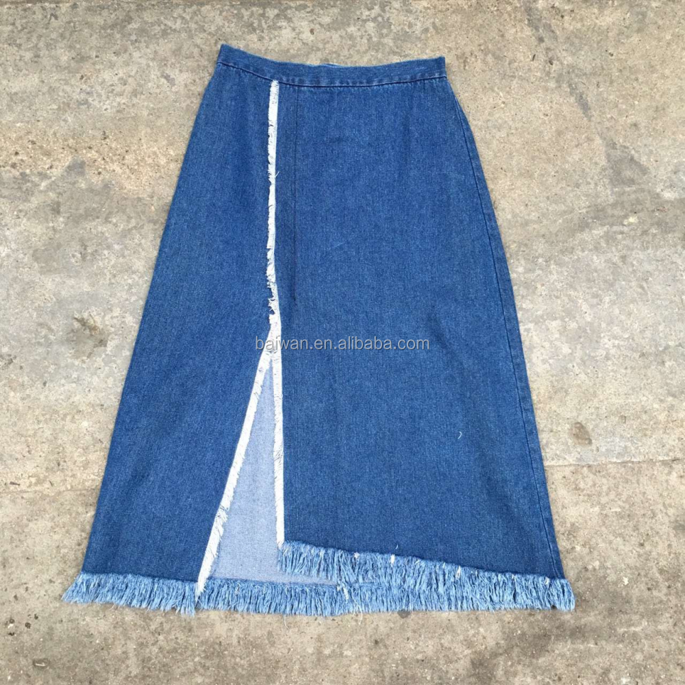 women stock garment fashion design denim long skirt