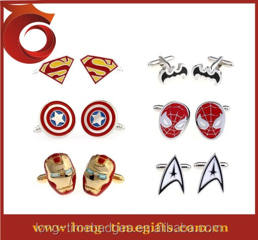 6 Pairs of Superhero Cufflinks with Nice Gift Box for Men, Superman, Batman, Captain America, Spider-man