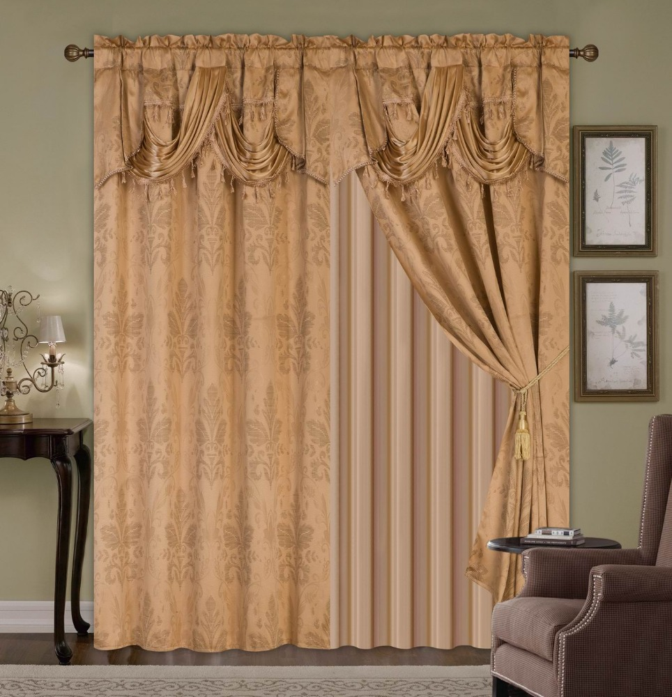 2PCS JACQUARD WINDOW CURTAIN WITH VALANCE AND TAFFETA BACKING AND TASSELS NEW DESIGN LIVING ROOM