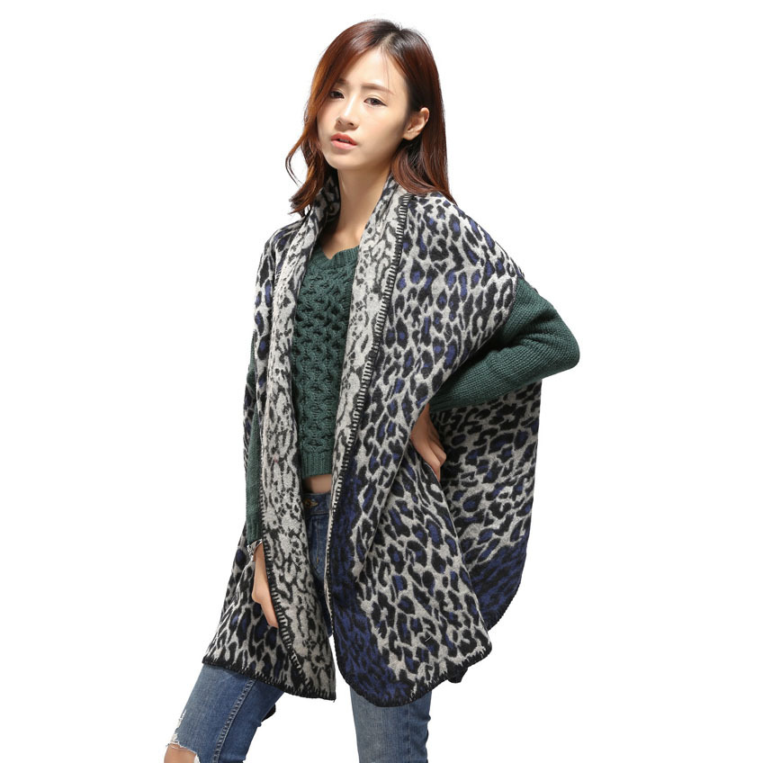 Fashion new style leapord pattern scarf poncho