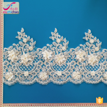 ZP0005-T(3.3) 2018 new design sequins wedding lace trim for bridal dress on hot sale lace factory