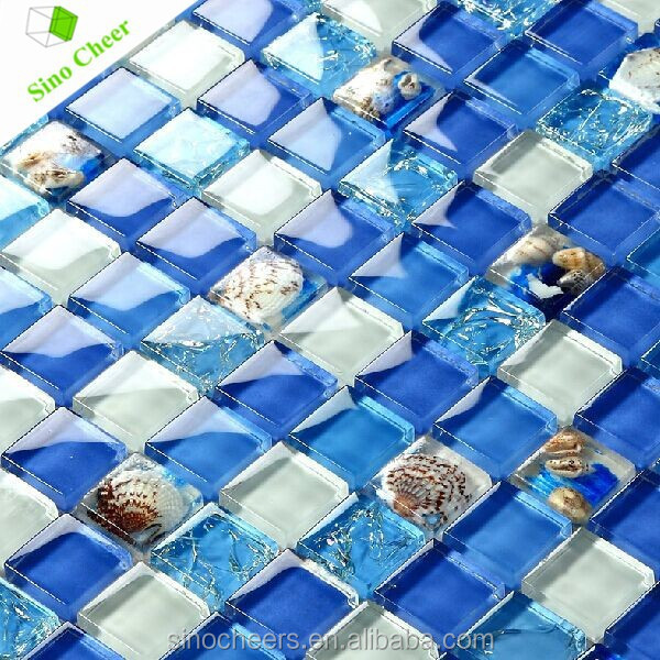 Blue Mirror Finish Glass Tile New Design Mosaic for Swimming Pool