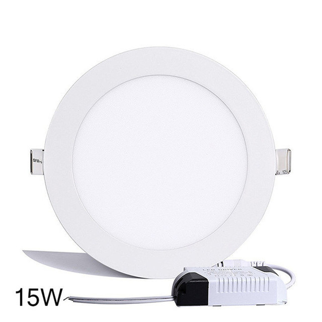 Slim design 9W LED Panel Light with Glass face plate Round Recessed mounting