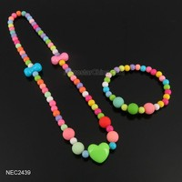 Wholesale Colorful Kids Plastic Bead Necklace And Bracelet Set