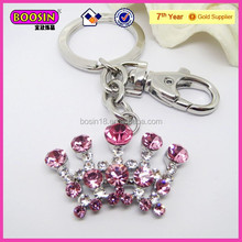 Fashion pink crystal rhinestone crown shape keychain for bag (15646)
