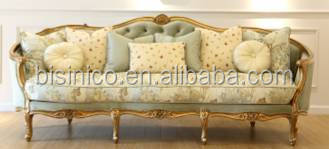 Vintage French Elegant Floral Fabric Sofa Set In Living Room/ Royal Palace Wooden Carving Sofa Reliner/ Antique Home Furniture