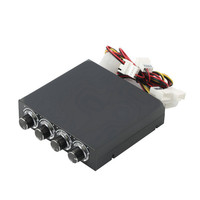 1pc 3.5inch PC HDD CPU 4 Channel Fan Speed Controller Led Cooling Front Panel