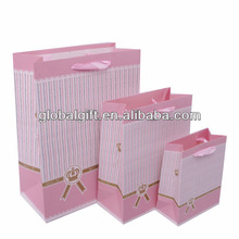 Wholesale Pink Striped shopping Paper Bags With Handles