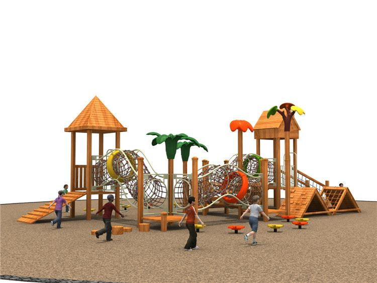 TOP sale comfortable design outdoor kid wooden playground equipment from gold china supplier