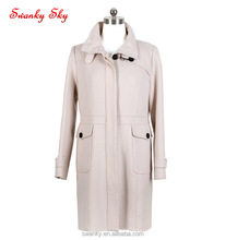 Classic 100% wool casual jacket lady white trench coat women winter 2018