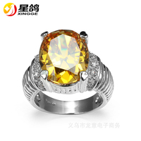 New Fashion Design With Big yellow Cubic Zirconia Oval Engagement Ring for women copper silver plated zircon crystal ring