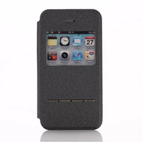Flip Window PU Leather Smart Key Stand Back Cover Case For iPhone 4 4s