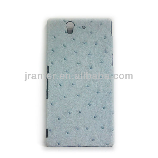 Genuine Leather Case Ostrich Skin for Sony Ericsson Case Luxury Leather Case for Sony L36h (Xperia Z)