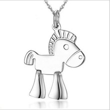 cute Chinese Zodiac traditional animal shaped 925 sterling silver horse pendant necklace