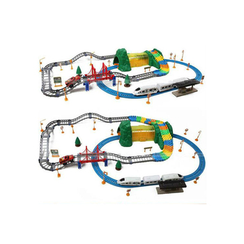 tra-1473631 track car set Hot selling stylish track train and car 135pcs (with music and lights)