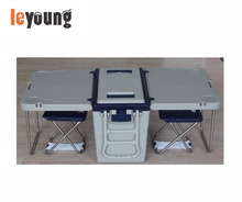 Multi Function Camping Picnic Rolling Cooler Table With 2 Chairs, cooler box table