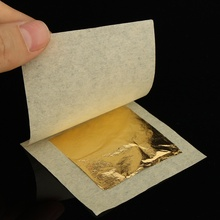 100 pieces 4.33X4.33cm 24K Pure Gold leaf 99.99% gold leaf foil sheet