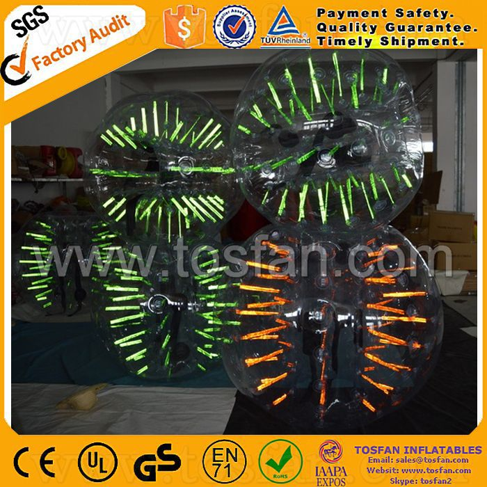 Promotional fluorescent light inflatable body bumper ball TB333