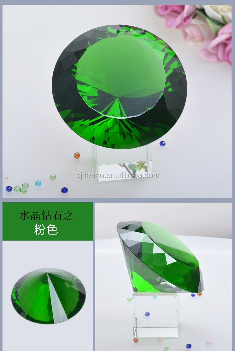 Top Quality Souvenir Gifts K9 Green Crystal Diamond Stone