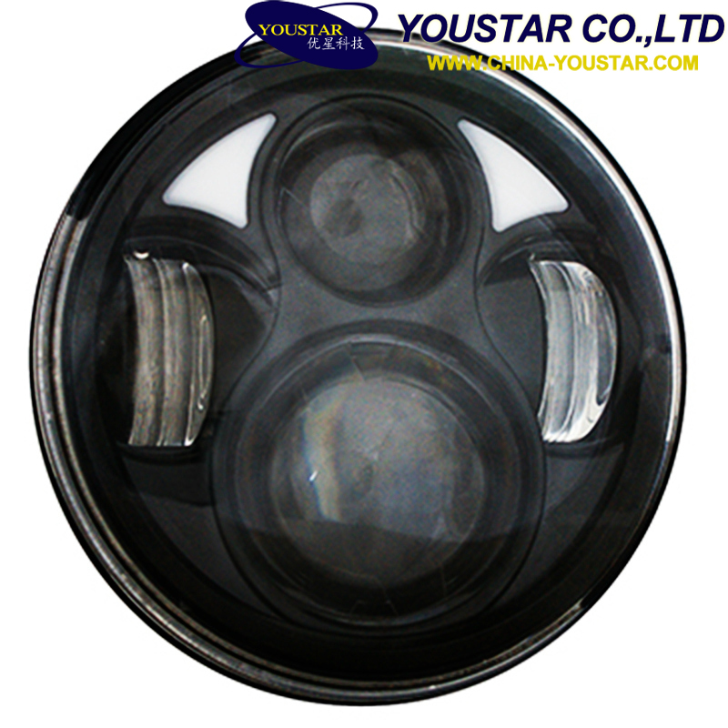 Led head light round angel eyes head lights 6 inch led high/low beam