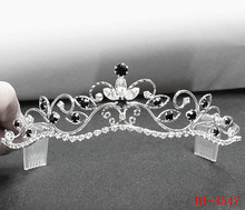 Bride Bridesmaid Tiaras Butterfly Flower Hair Accessories Filigree Black Rhinestone Headpiece Wedding Tiara