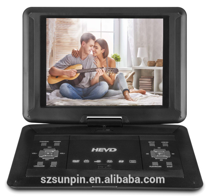 big screen 14 inch region free portable dvd player with tv fm usb