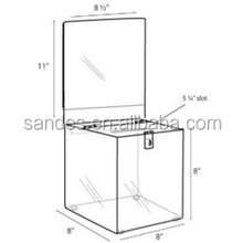 Good Quality Clear Acrylic Suggestion Box/Ballot Box /Lottery Box With Sign Holder