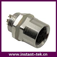 INST ip68 m12 8pin waterproof panel mount type automotive electrical connectors