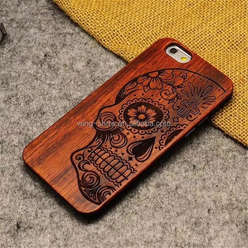 skull head design wood cell phone case for iphone 8 Plus 5.5 inch ,mobile phone accessories